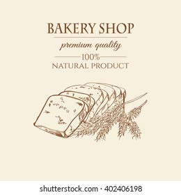 Vector bakery retro background. Sketch bread and hand drawn wheat. Baking shop. Vector illustration