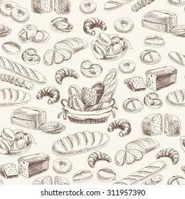 Vector bakery retro seamless pattern. Vintage Illustration. Sketch