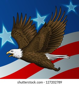 vector bald eagle with american flag