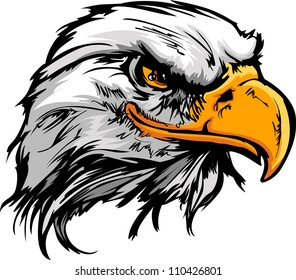 Vector Bald Eagle or Hawk Head Mascot Graphic