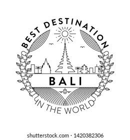 Vector Bali City Badge, Linear Style