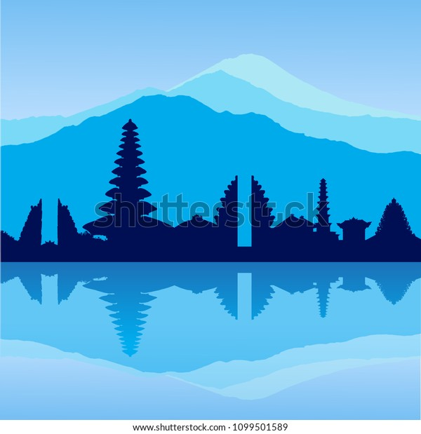 Vector Bali skyline with temples and three volcanos