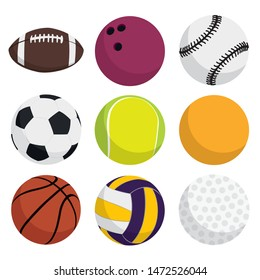 Vector ball games symbols set in same frame for example bowling, tennis, american football, soccer, golf, basketball, volleyball, billiards, baseball vectorial sport balls icons set