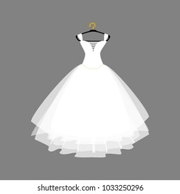 Vector of Ball Gown Long on Hanger. Wedding Gown. Illustration on Grey Background. Vector Fashion Illustration. Wedding dress.
