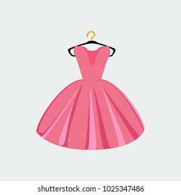 Vector of Ball Gown on Hanger. Illustration on White Background. Vector Fashion Illustration.
