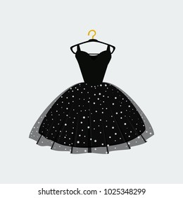 Vector of Ball Gown on Hanger. Illustration on White Background. Vector Fashion Illustration. Elegance Party Dress.
