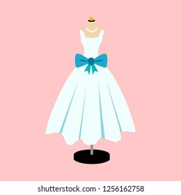Vector Of Ball Gown on Mannequin. Illustration on Pink Background. Blue Dress.