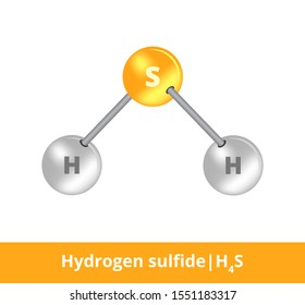 Vector ball-and-stick icon of hydrogen sulfide or sulfane H2S structure consisting of sulfur and hydrogen. Structural formula suitable for education isolated on a white background.