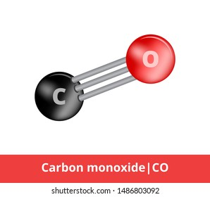 Vector ball-and-stick model of chemical substance. Icon of carbon monoxide molecule CO consisting of carbon and oxygen. Structural formula with one triple bond isolated on a white background.