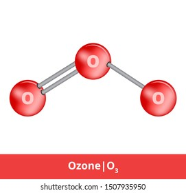 Vector ball-and-stick model model of chemical substance. Icon of ozone molecule O3 with double and single bond. Structural formula of ozone is suitable for education isolated on a white background.
