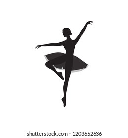 Vector ballet dancer silhouette of a dancing ballerina dancer in pointe dress isolated on white cartoon beautiful stylish logo for a dance school flat icon, print for fabric and t-shirts, sticker eps
