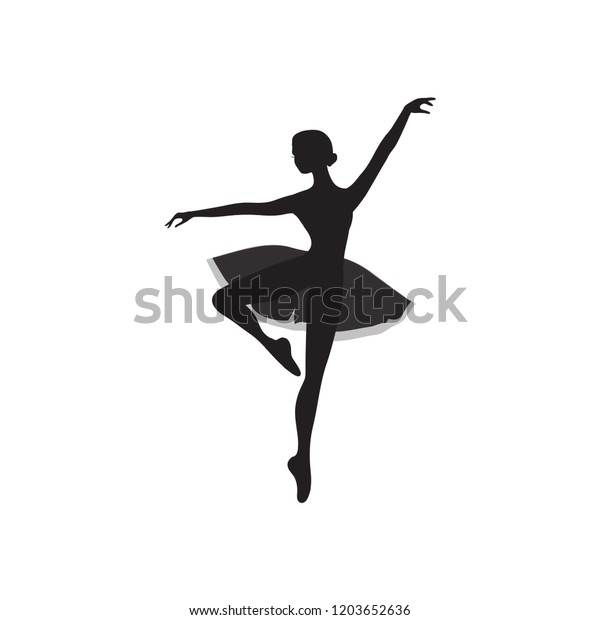 Vector Ballet Dancer Silhouette Dancing Ballerina Stock Vector Royalty Free 1203652636