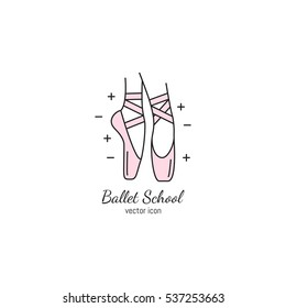Vector ballet icon in trendy linear style. Pink pointe shoe isolated on white background