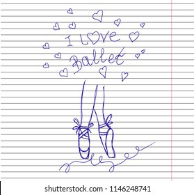 Vector ballet line icon pointe shoe isolated on copybook background. Sketch silhouette hand drawn pointes shoes.