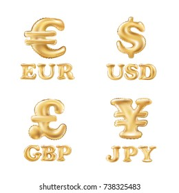 vector balloon gold Dollar, Euro, Pound and Yen currency icons. USD, EUR, GBP and JPY money sign symbols. concept web buttons. art