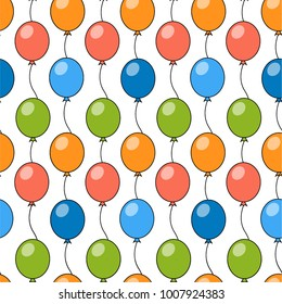 Vector balloons pattern. For Birthday, wedding, anniversary design. Seamless vector background.