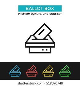 Vector ballot box icon. Voting, election concept. Premium quality graphic design. Modern signs, outline symbols collection, simple thin line icons set for website, web design, mobile app, infographics