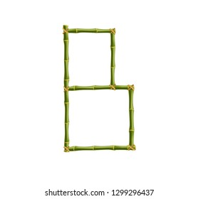 Vector bamboo alphabet. Capital letter B made of realistic green bamboo sticks poles isolated on white background. Abc concept for creating words, text, advertising, message.