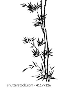 Vector bamboo border in traditional Chinese painting style