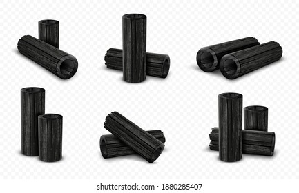 Vector bamboo charcoal set isolated on transparent background. Realistic pieces charcoal.