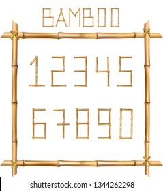 Vector bamboo numerals digits made of realistic brown dry bamboo poles inside of wooden stick frame isolated on white background. Numbers concept for creating words, text, advertising, message.