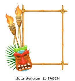 Vector bamboo signboard with tiki tribal wooden mask and torch. Illustration for design hawaiian party.