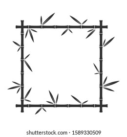 Vector bamboo square frame. Bamboo stalks and leaves. Black design element isolated.