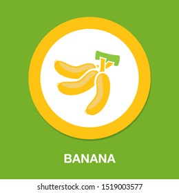 vector banana icon, fruit illustration, healthy diet, fresh tropical banana