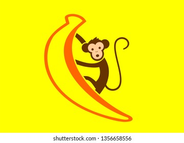 VECTOR OF BANANA AND MONKEY PICTURE