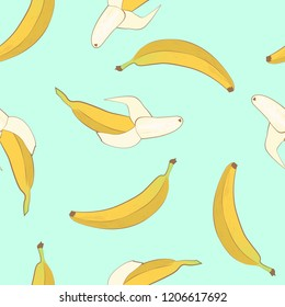 Vector bananas pattern, fruit seamless, tropical backgroud