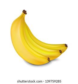Vector bananas. Three yellow juicy bananas isolated on white background.