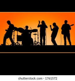 Vector band, great for posters!  Each member is grouped with his instrument and is easy to edit/move.