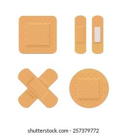 Vector Bandage Plaster Aid Band Medical Adhesive Set Isolated on White Background