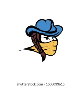 vector bandit women, a bandit girl with bandana, bandit girl wearing a cowboy hat with long hair
