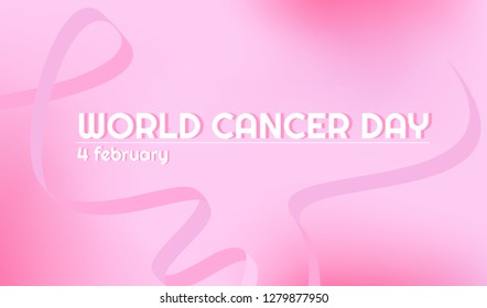 Vector baner for World Cancer day. Pink ribbon. Horizontal pink gradient background