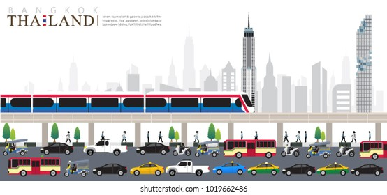 vector of Bangkok city, Rush hour in the city, Public transport