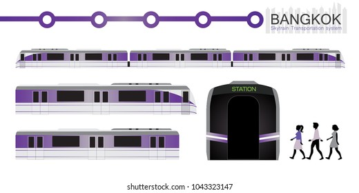 vector of Bangkok sky train in the city