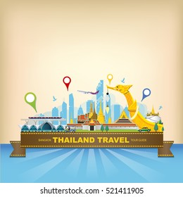 vector Bangkok Thailand transportation, Bangkok city Travel tour guide, Bangkok  skyline,  landmark of thailand