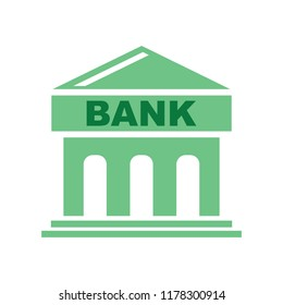 vector Bank building illustration, business finance icon - money savings