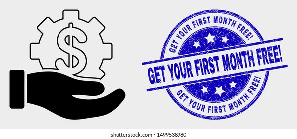Vector bank service hand icon and Get Your First Month Free! stamp. Red rounded distress stamp with Get Your First Month Free! text. Vector combination in flat style.
