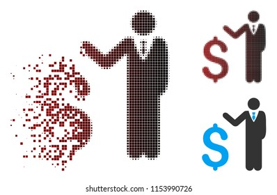 Vector banker icon in sparkle, dotted halftone and undamaged entire variants. Disappearing effect involves square sparks and horizontal gradient from red to black.