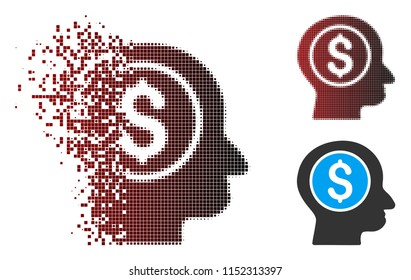 Vector banker icon in sparkle, pixelated halftone and undamaged entire versions. Disintegration effect involves rectangular particles and horizontal gradient from red to black.