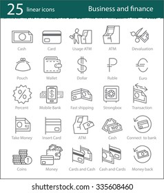 Vector banking, electronic commerce, finance and business linear icons set