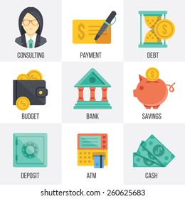 Vector banking and finance icons set. Flat design. Isolated on white background. Set 3.