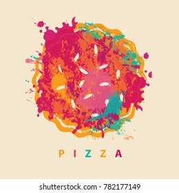 Vector banner with abstract image of pizza in the form of colorful spots and splashes and the lettering pizza