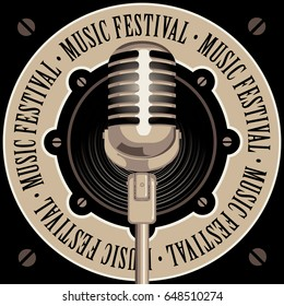 vector banner with acoustic speaker, microphone and the words music festival, written around on beige background