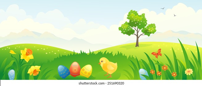 Vector banner with a beautiful Easter country scenery