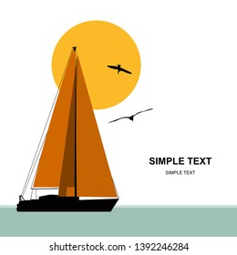 Vector banner. Blue sea with yacht. Sunset at sea with yacht. Sea voyage on the yacht. Yachting. Sailing boat is sailing along the seashore.