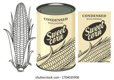 Vector banner for canned sweet corn with corn cob, label and tin can. Label design with a contour drawing of a corn cob and inscription on a light background. Long-term storage product