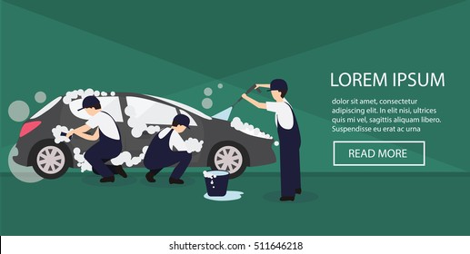 vector banner for car washing. Car wash vector illustration. Service car wash vector illustration. Banner for the website.